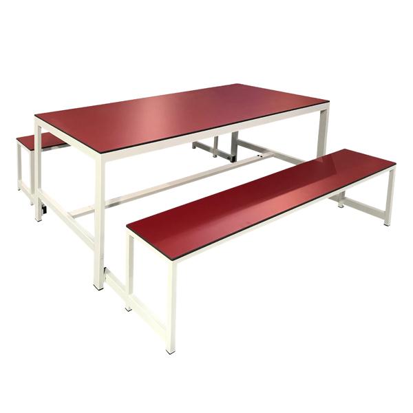 Mesa y banco estructura en acero y tablero en fen lico de - Bancos para comedor ...